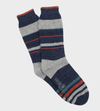 Donegal Stripe Wool Sock - Navy/Silver