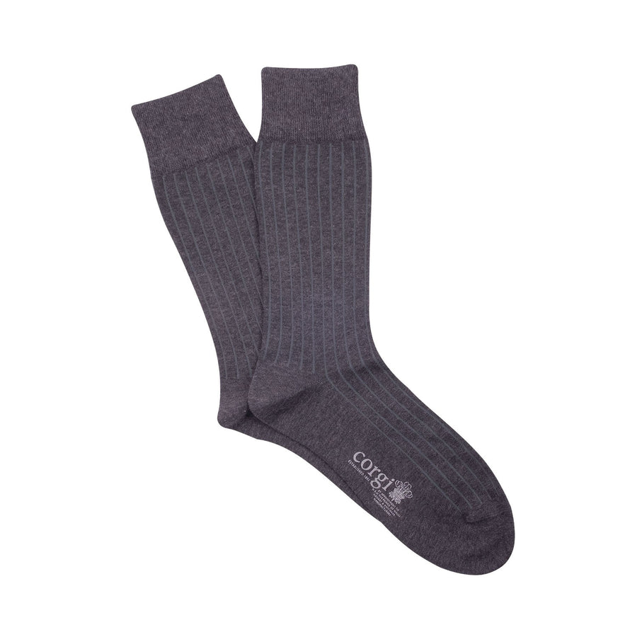 Plain Ribbed Mercerised Cotton Socks - Slate