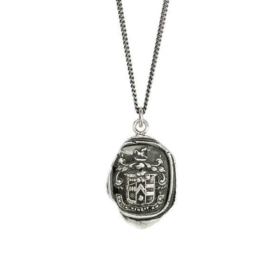 Sterling Silver Talisman Necklace - Love Conquers All