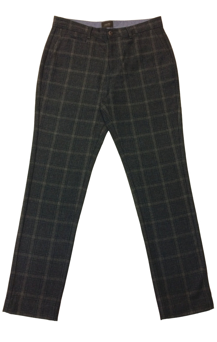 Glen Plaid Wool Blend Suspender Pant