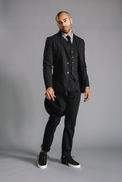 Thomas Dress Chino in Black Stretch Ripstop