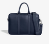 Leather Laptop Briefcase - Navy