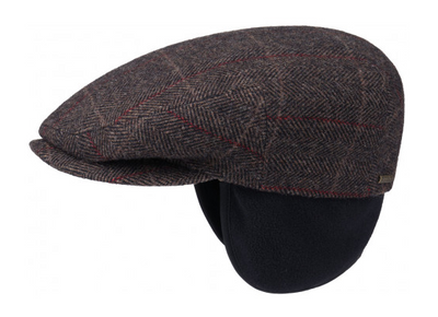 Kent Flat Cap with Ear Flaps - Brown