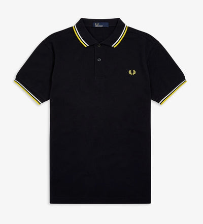 Twin Tipped Fred Perry Shirt / Navy-Snow White-Electric Yellow