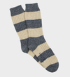Rugby Stripe Donegal Wool Sock - Denim/Ecru