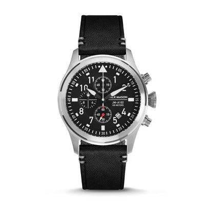 Aviation Chrono - SS Black Dial - Black Leather