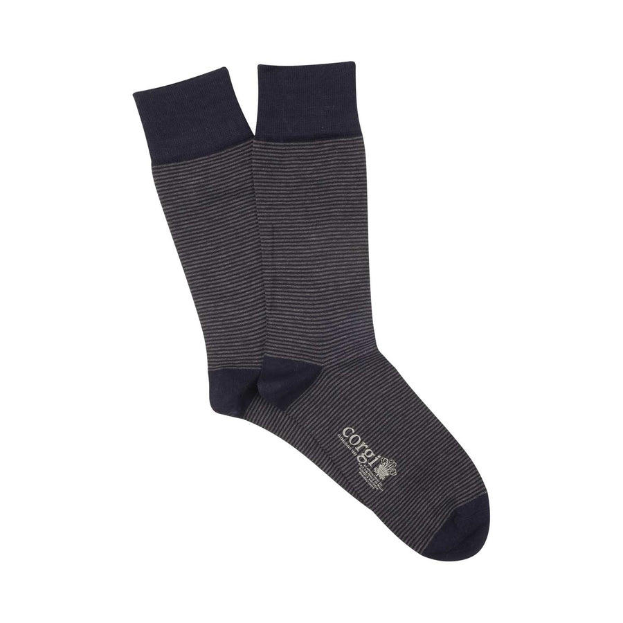 Micro Stripe Mercerised Cotton Socks - Navy & Slate