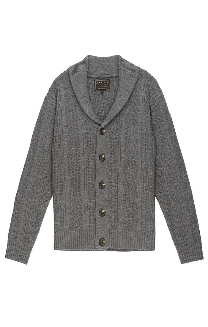 Merino Wool Fisherman Cardigan - Charcoal