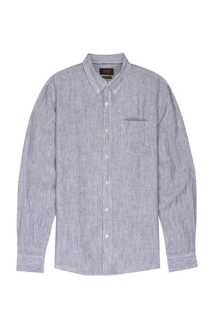 Striped Linen Button Down - Navy