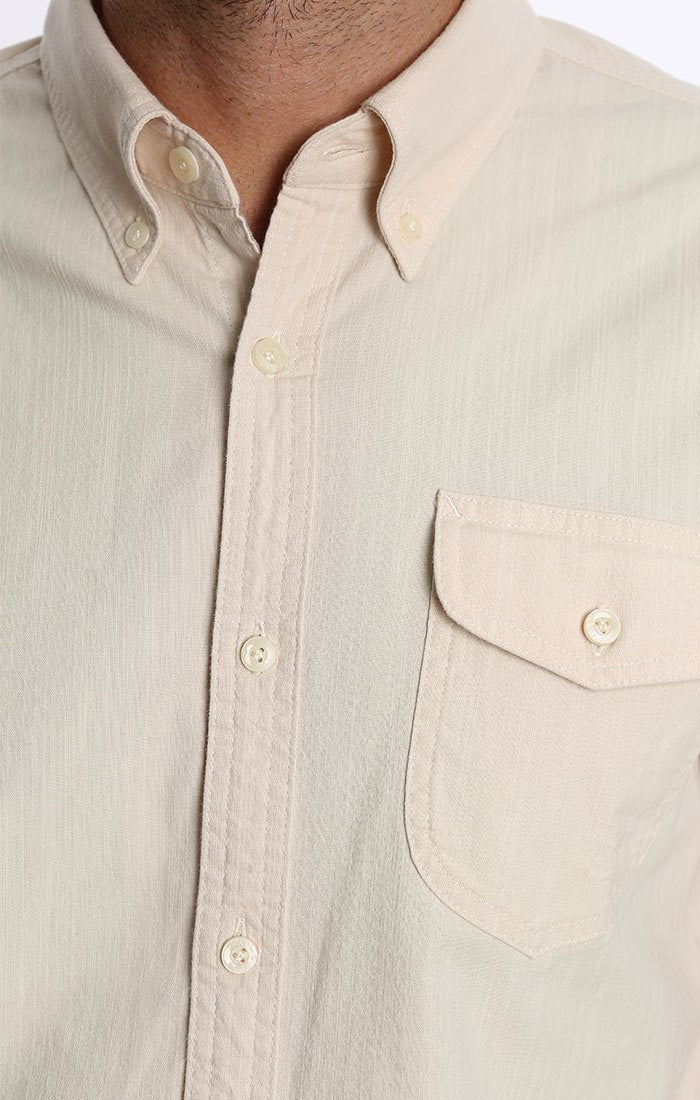 Shield Pocket Stretch Chambray Button-Up - Ivory