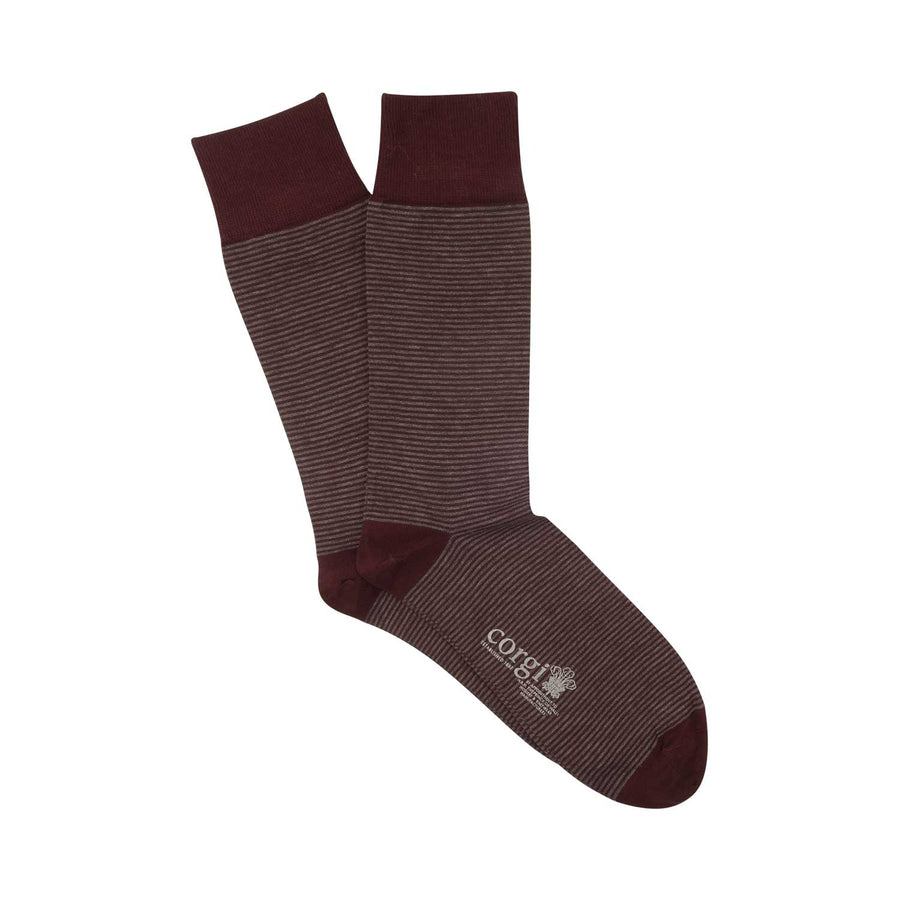 Micro Stripe Mercerised Cotton Socks - Slate & Port