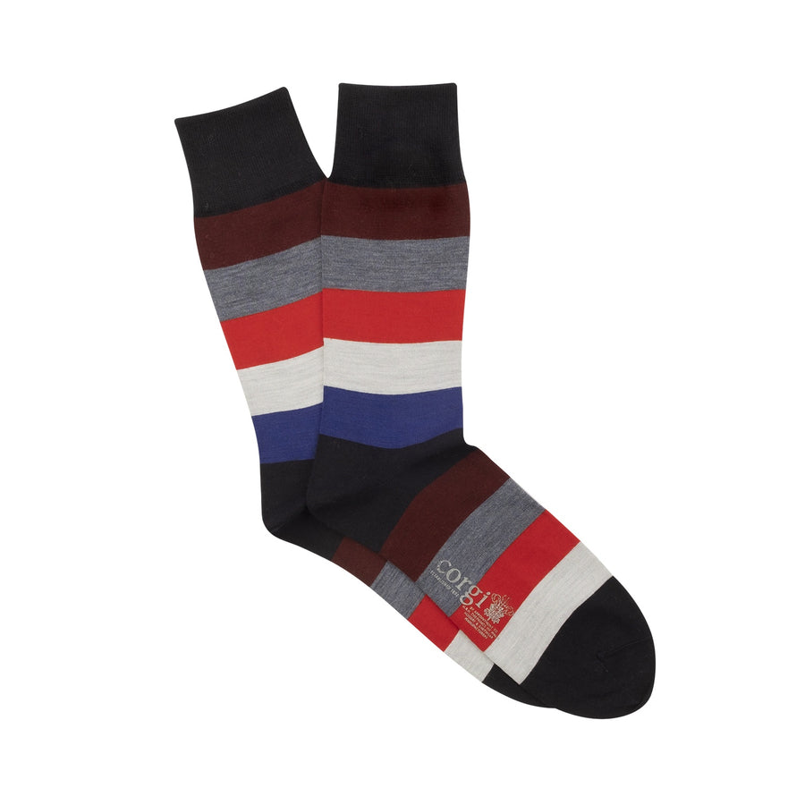 Wide Striped Merino Wool Socks - Navy/Port