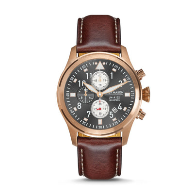 Aviation Chrono - RG Grey Sunray Dial - Brown Leather Strap