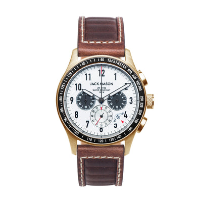 Racing Chrono BZ - White-Black Dial - Brown Leather Strap