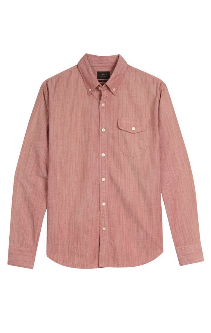 Shield Pocket Stretch Chambray Button-Up - Red