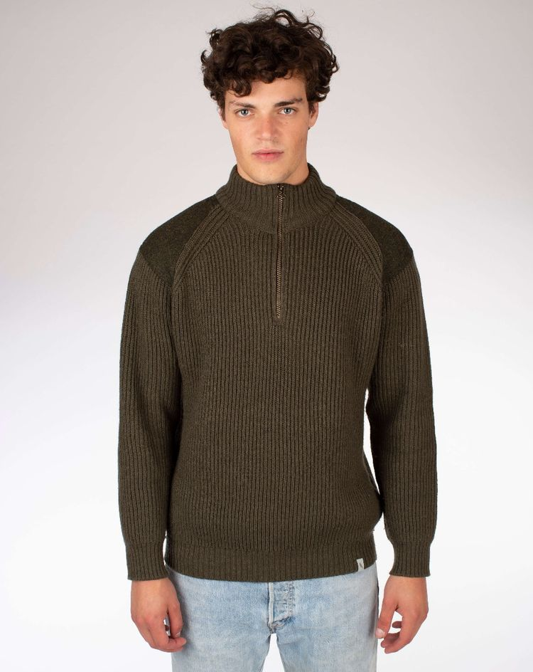 Foxton Zip Neck Sweater - Olive