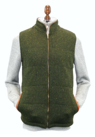 Irish Tweed Gilet w/ Leather Trim - Green