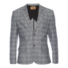 Kurt Notched Lapel Stretch Blazer - Grey Plaid