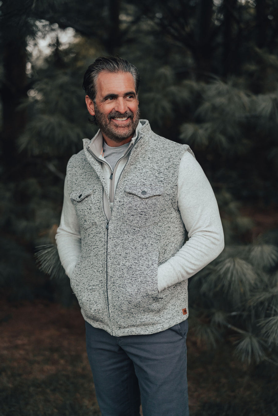 Lincoln Fleece Vest - Salt & Pepper