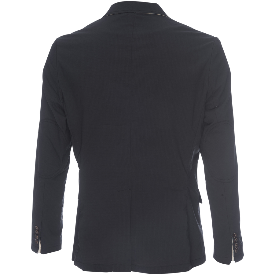 Kurt Notched Lapel Blazer in Black Stretch Ripstop