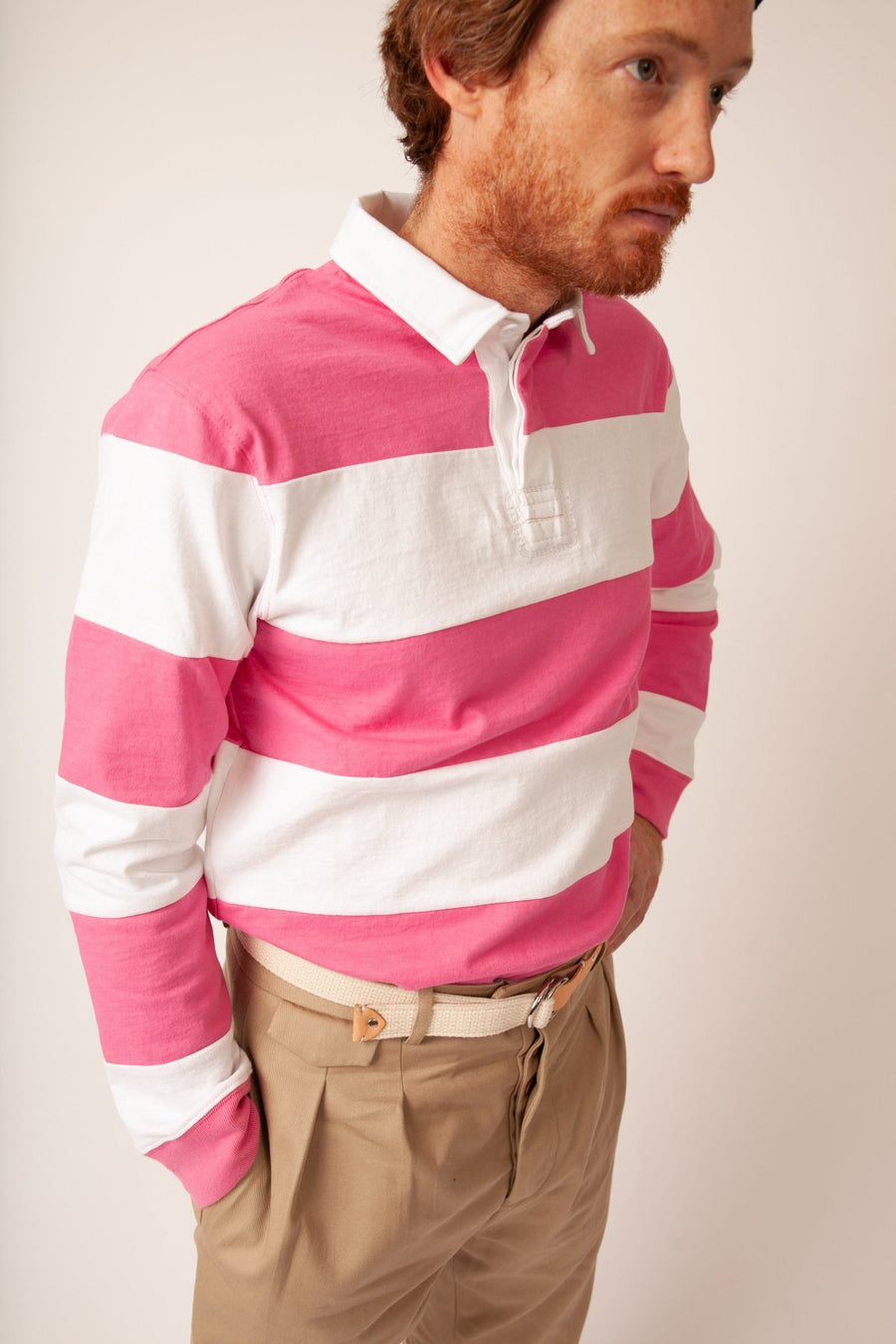 Hockney Stripe Rugby - Pink/White