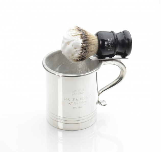 Handmade Pewter Shave Mug with Brush Holder