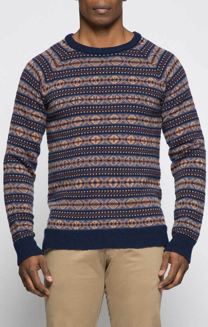 Navy Fair Isle Crewneck Sweater
