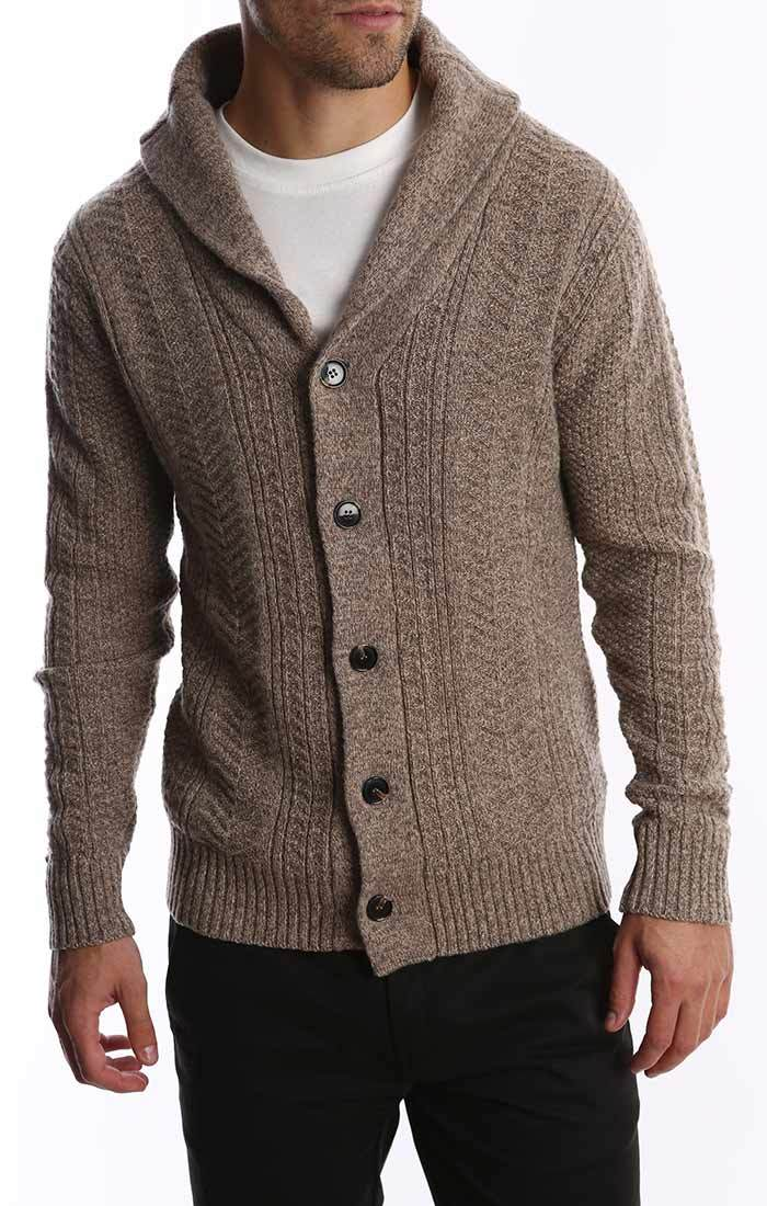 Merino Wool Fisherman Cardigan - Brown