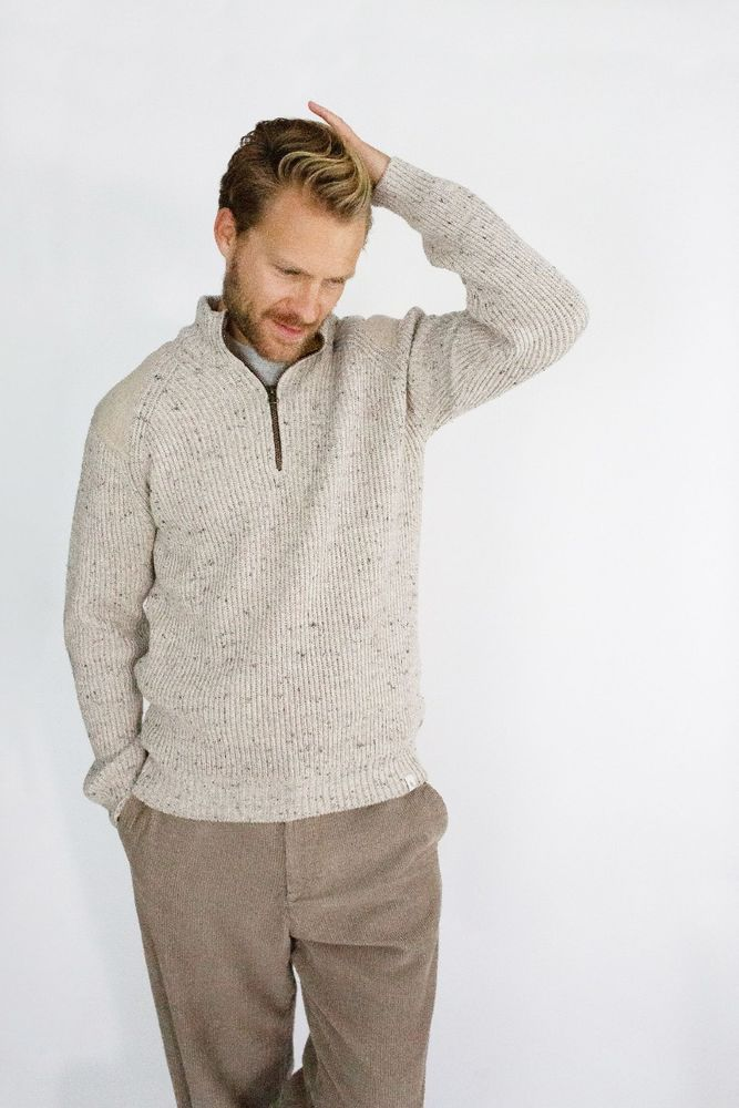 Foxton Quarter Zip Neck - Oatmeal
