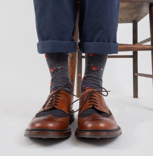 Pheasant Merino Wool Sock -Denim