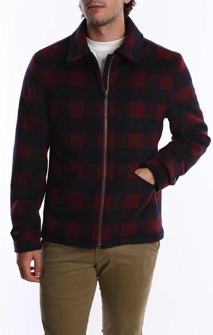 Red / Navy Buffalo Check Wool Blend Jacket