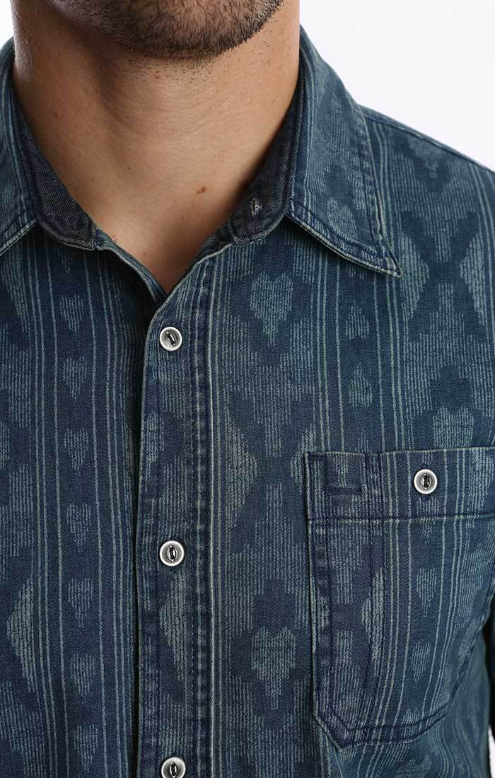 Printed Stretch Denim Shirt
