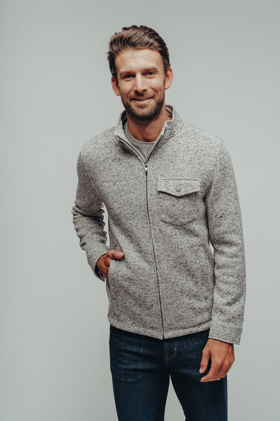 Lincoln Fleece Jacket - Salt & Pepper