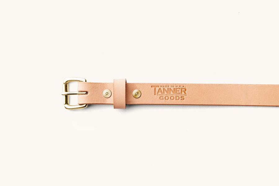 Natural Skinny Standard Belt w/ Brass Buckle