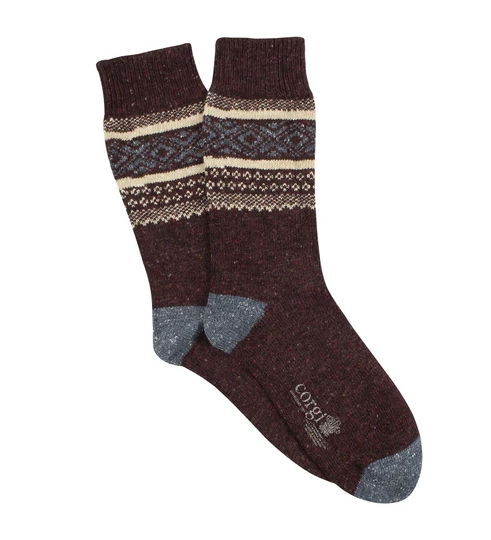 Fairisle Donegal Wool Sock - Port
