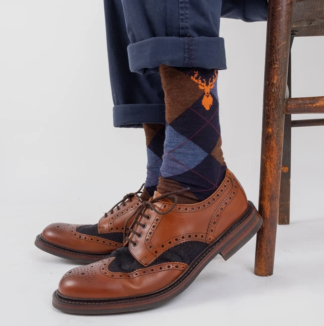 Argyle & Stag Merino Wool Sock - Navy