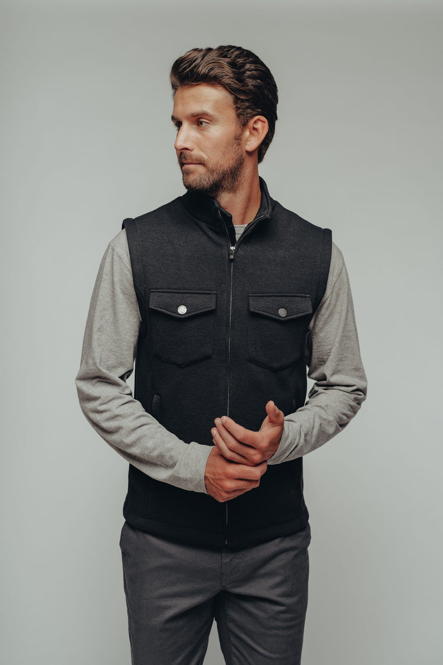 Lincoln Fleece Vest - Black