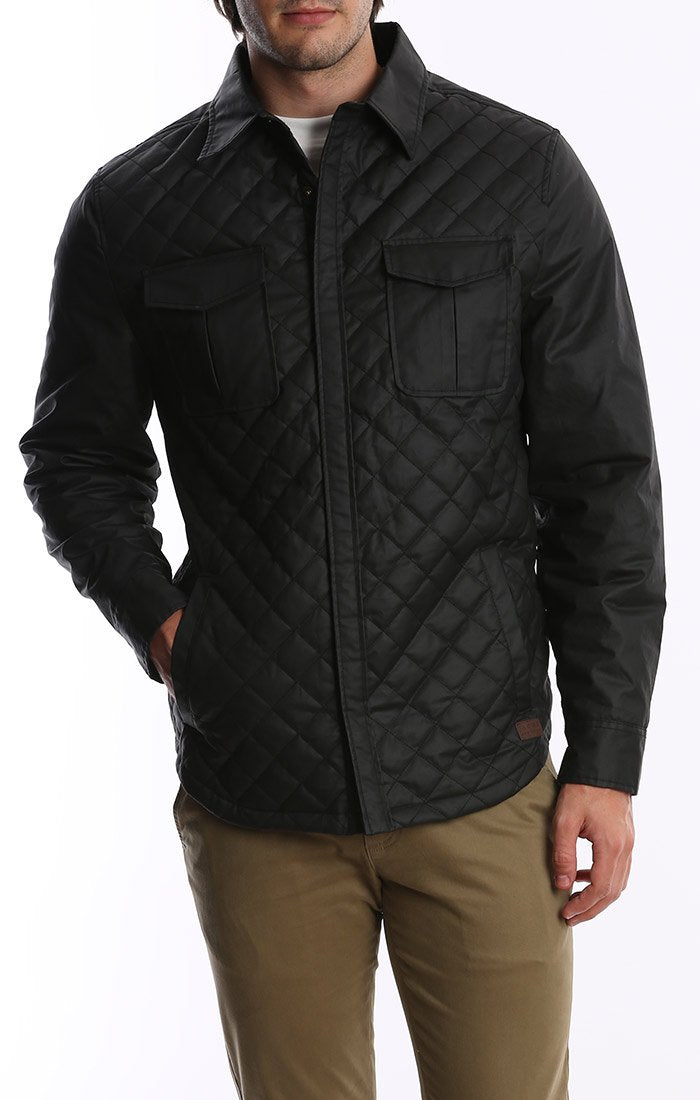 Waxed Twill Shirt Jacket - Charcoal
