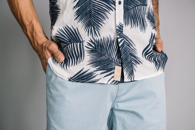 Truman Short Sleeve w/ Button Collar - Palm Leaf Print