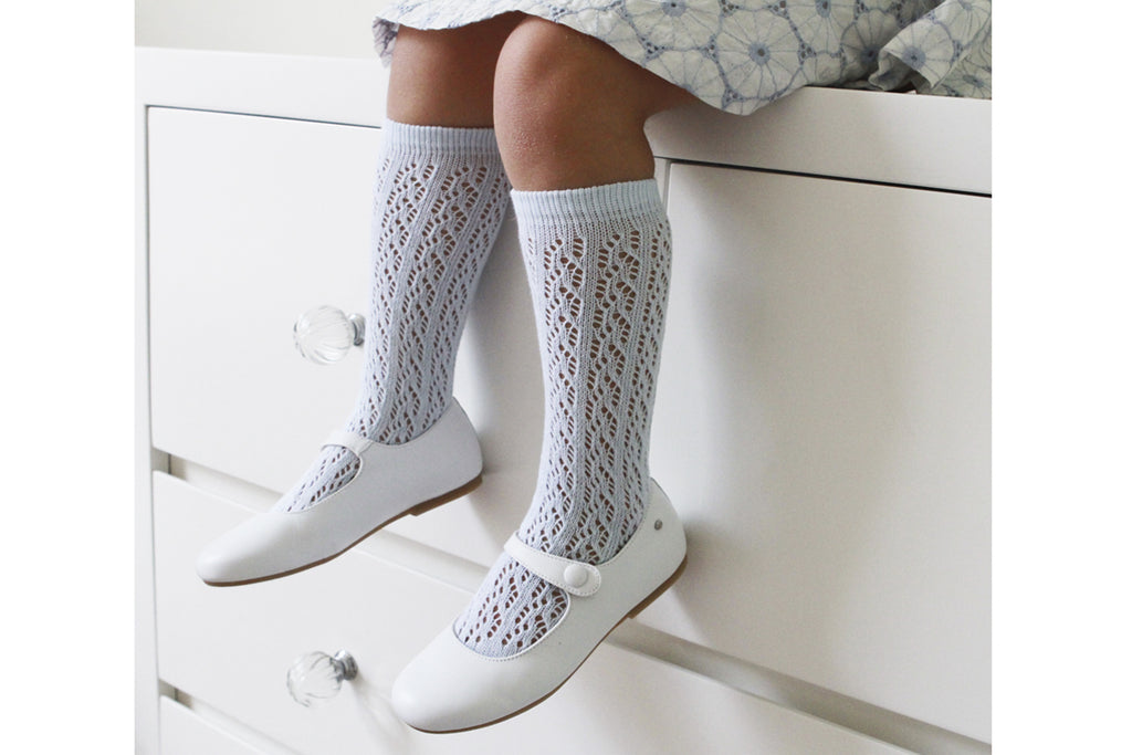 Knee High Openwork Socks Baby Blue - Kids Kicks Pty Ltd