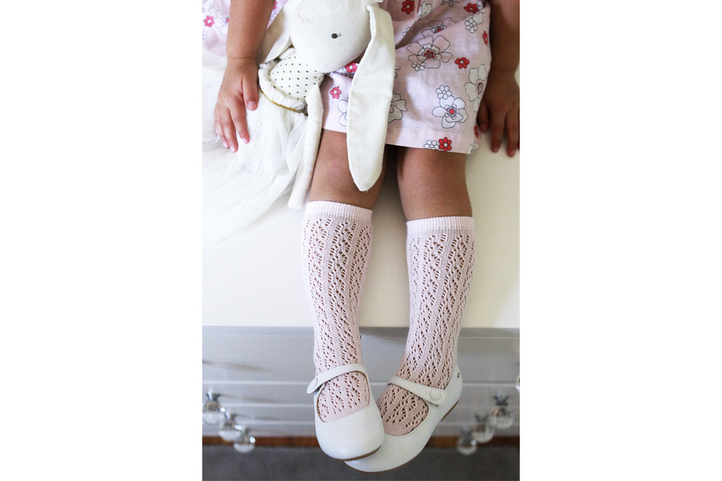 Knee High Openwork Socks Candy Pink - Kids Kicks Pty Ltd