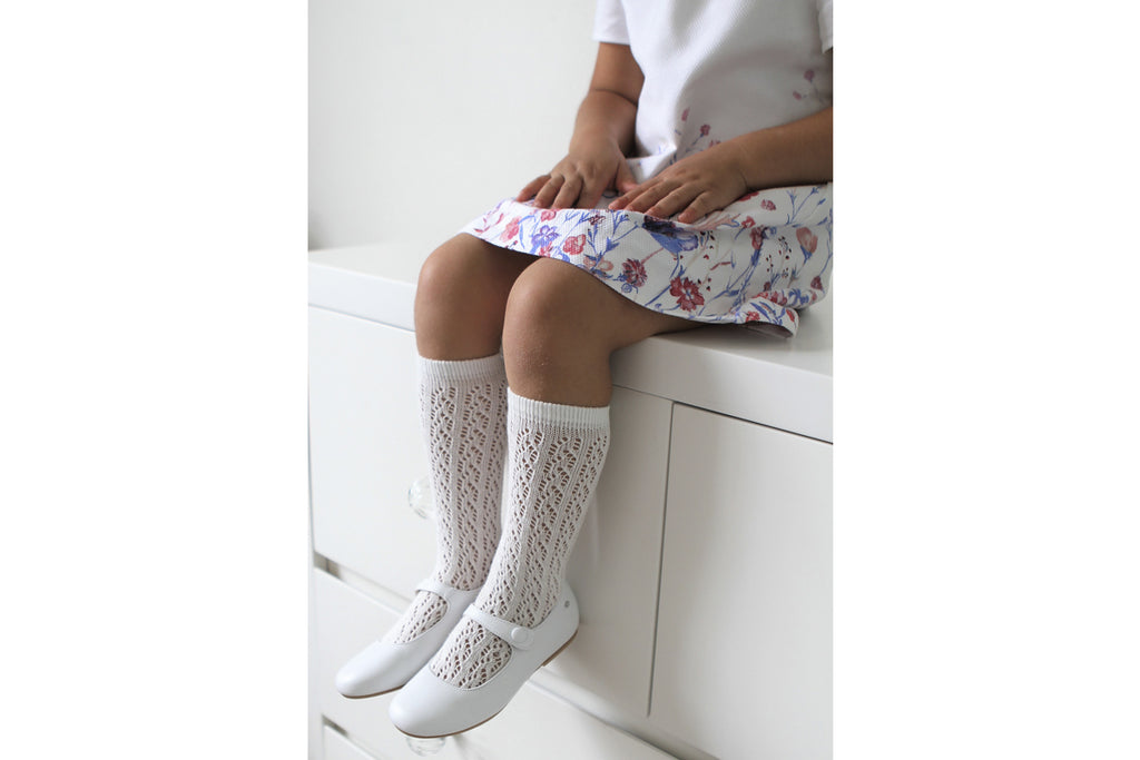 Knee High Openwork Socks White - Kids Kicks Pty Ltd