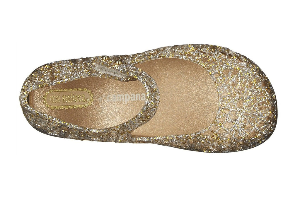 Mini Melissa Campana Zig Zag Gold/Silver Glitter - Kids Kicks Pty Ltd