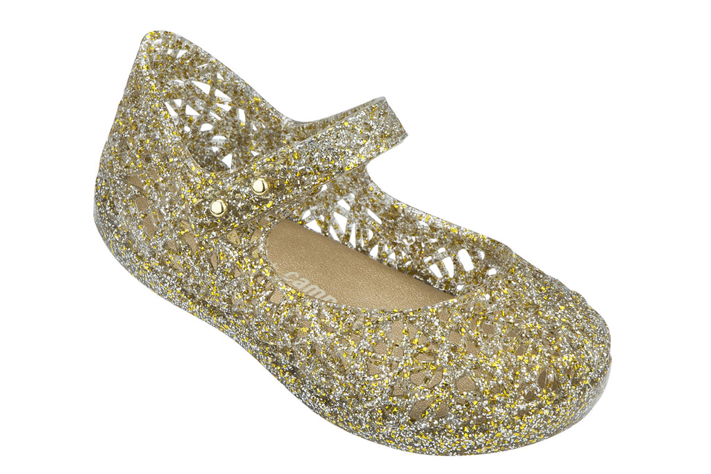 Mini Melissa Campana Zig Zag Gold Multi Glitter - Kids Kicks Pty Ltd