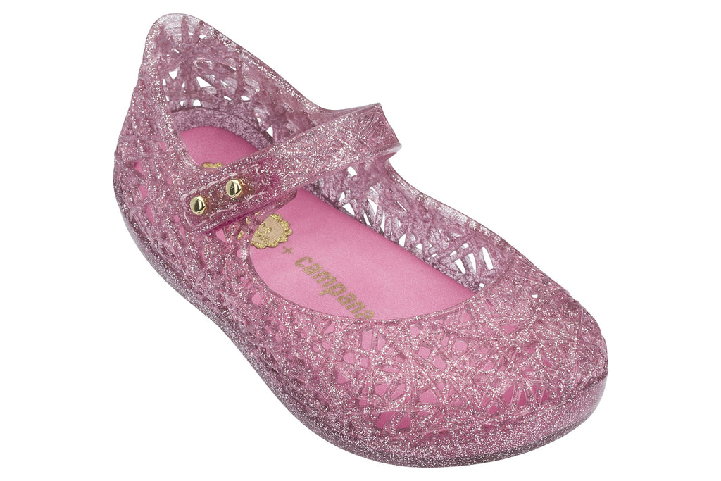 Mini Melissa Campana Zig Zag Pink Glitter - Kids Kicks Pty Ltd