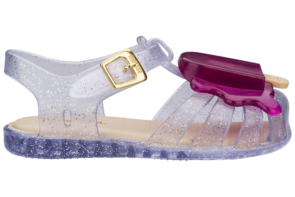 Mini Melissa Aranha Popsicle Clear Glitter/Purple - Kids Kicks Pty Ltd