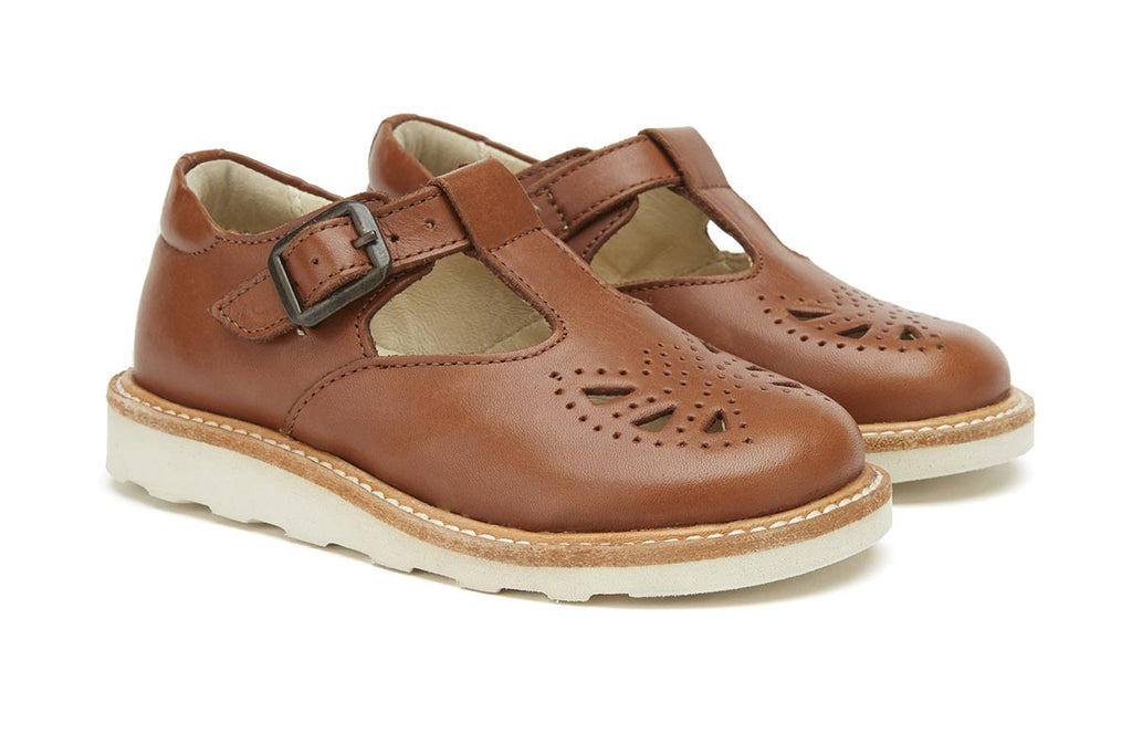 Young Soles Rosie T-Bar Rose Chestnut Brown - Kids Kicks Pty Ltd