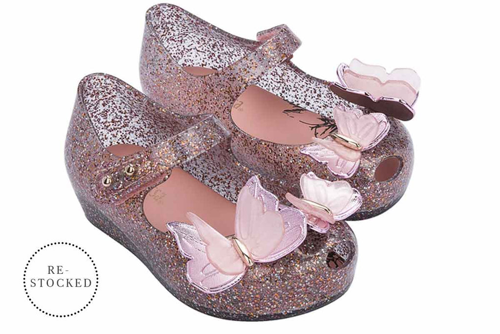 Mini Melissa Ultragirl Butterfly Clear Pink Glitter
