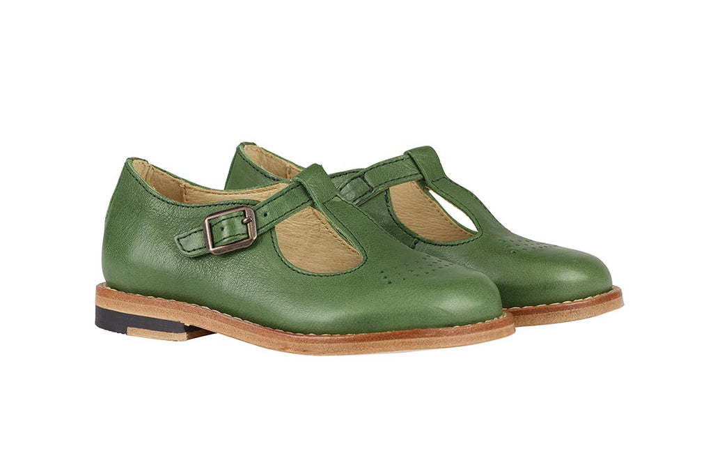 Young Soles Dottie T-Bar Pea Green - Kids Kicks Pty Ltd
