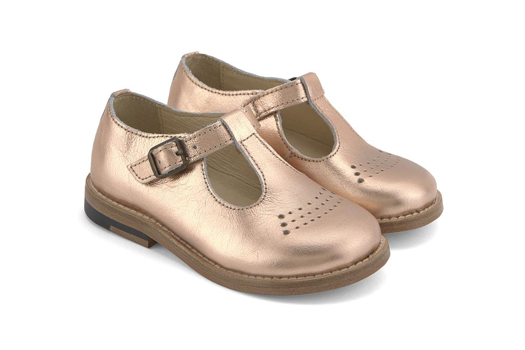 Young Soles Dottie T-Bar Rose Gold - Kids Kicks Pty Ltd